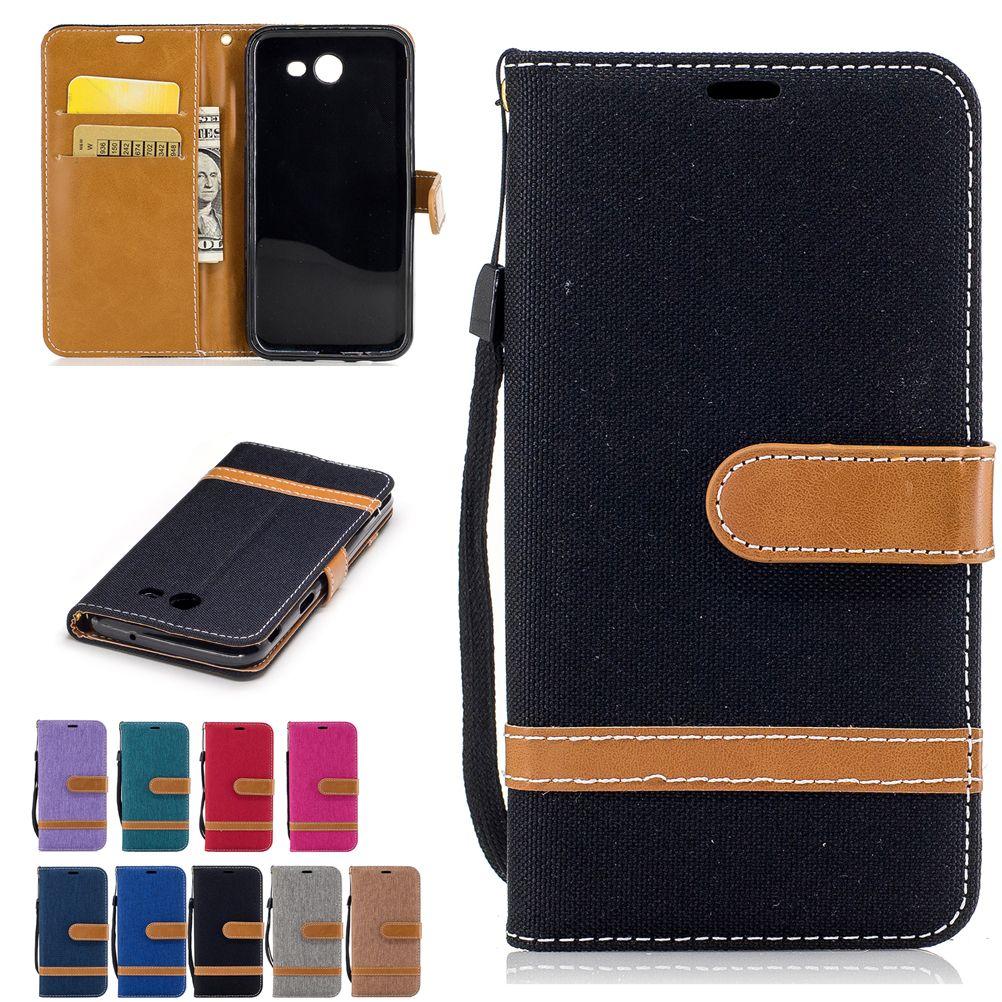 Per Samsung Galaxy J3 2017 GALAXY J320 Custodie in pelle PU copertura del panno del cowboy Stand con tasche di carta fibbia cinturino a mano