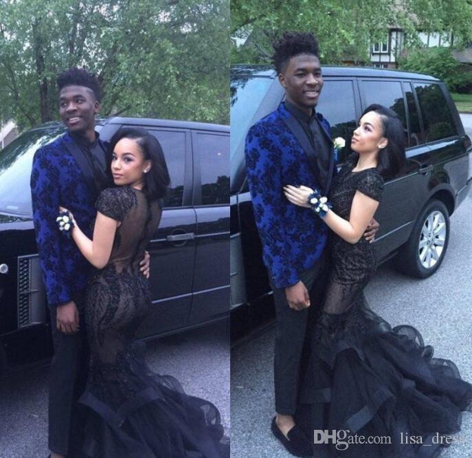 2017 vendita calda sexy nero pizzo appliqued maniche corte sirena prom dresses abiti da sera formale paio abiti da festa di moda custom made
