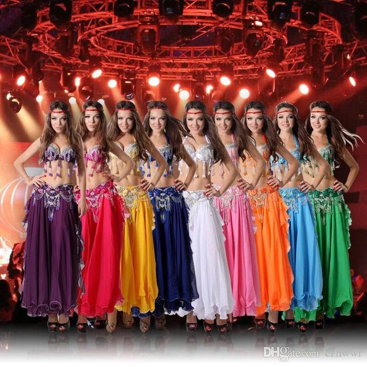 Performance 11 Farben Frauen Dancewear Professional Größe S-XL 3pcs Outfit BH Gürtel Rock Lange Oriental Perlen Kostüm Bauchtanz