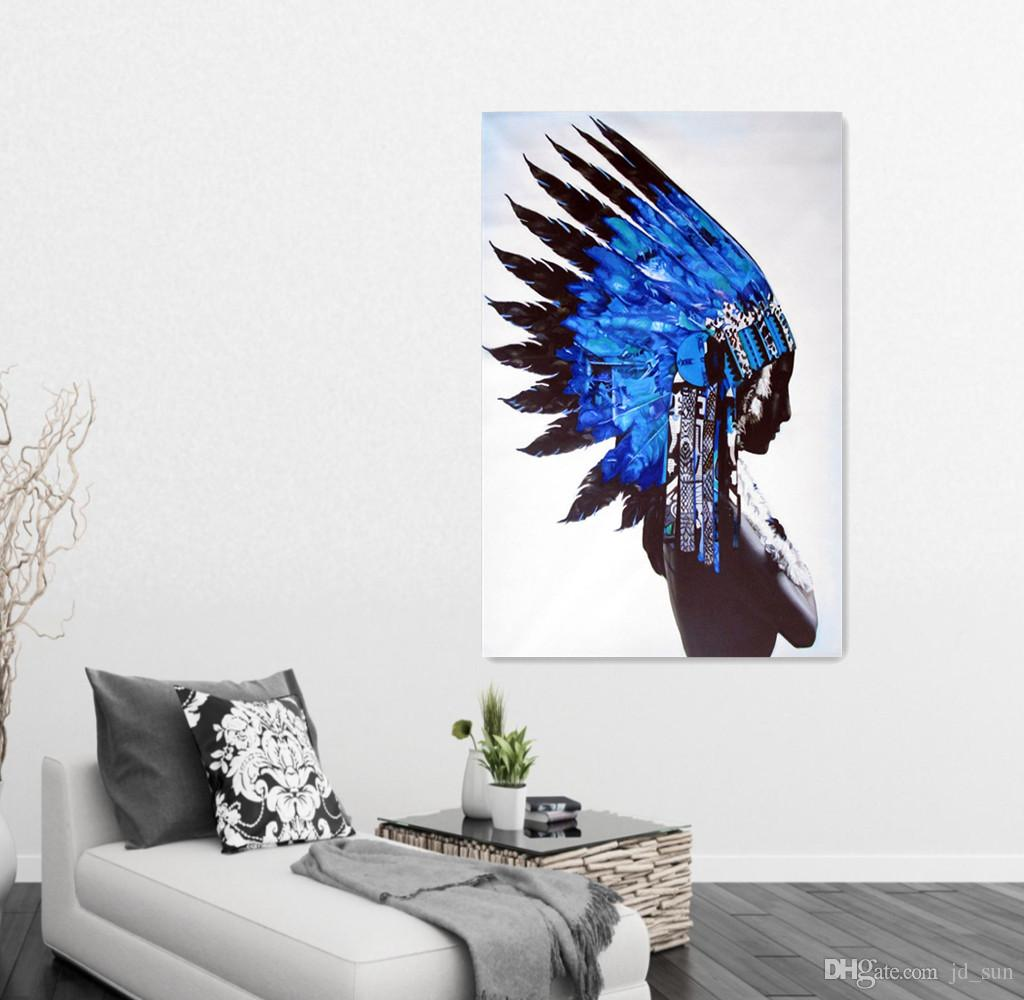 Native American Man Figure Picture Canvas Art Living Room Wall ...