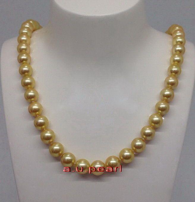 """Feine Perlen Schmuck ROUND lang 26"""" 10-11mm natürliche realen Südsees goldene Perlenkette 14K"""