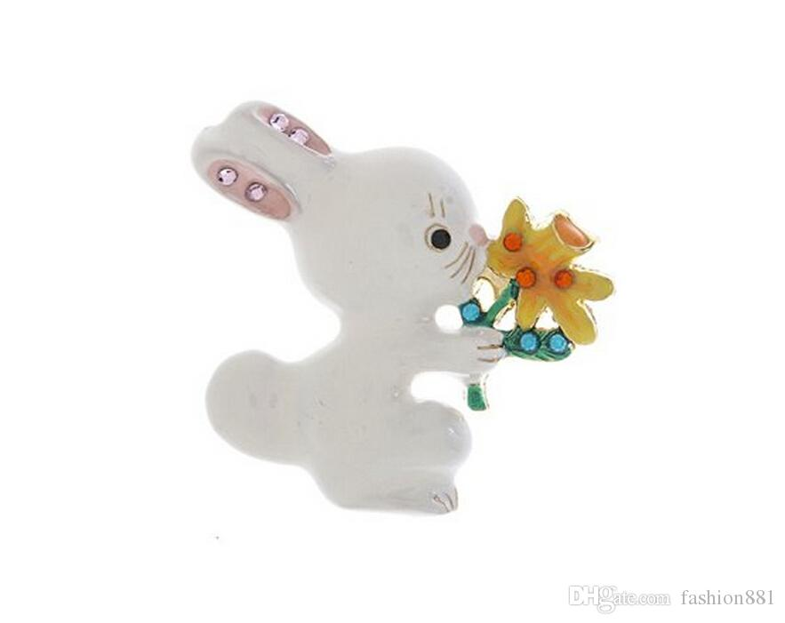 White enamel Bunny Rabbit Pin Brooch with flower for Easter