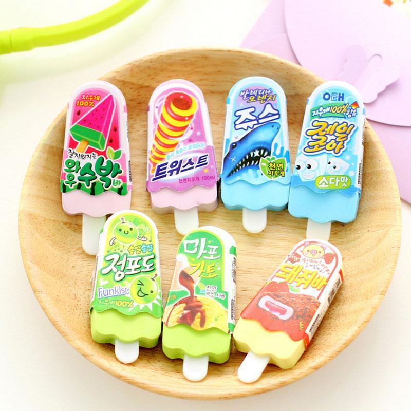 Wholesale-2pcs/lot novelty Ice Cream rubber eraser kawaii creative kawaii stationery school supplies papelaria gift for kids Free shipping
