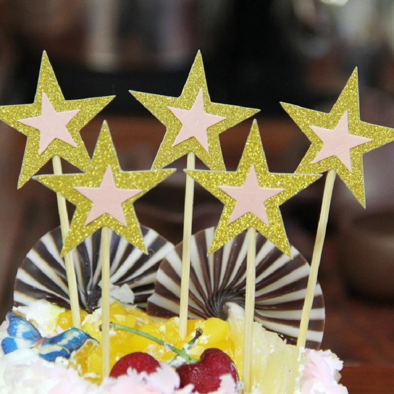cake toppers gliter star paper cards banner for fruit Cupcake Wrapper Baking Cup birthday tea party wedding decoration baby shower