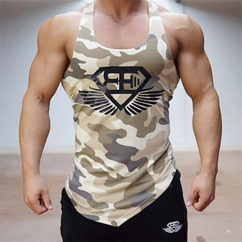 Fitness Hombres Tank Top Army Camo Camuflaje Mens Bodybuilding Stringers Tank Tops Singlet Brand Clothing Camisa sin mangas
