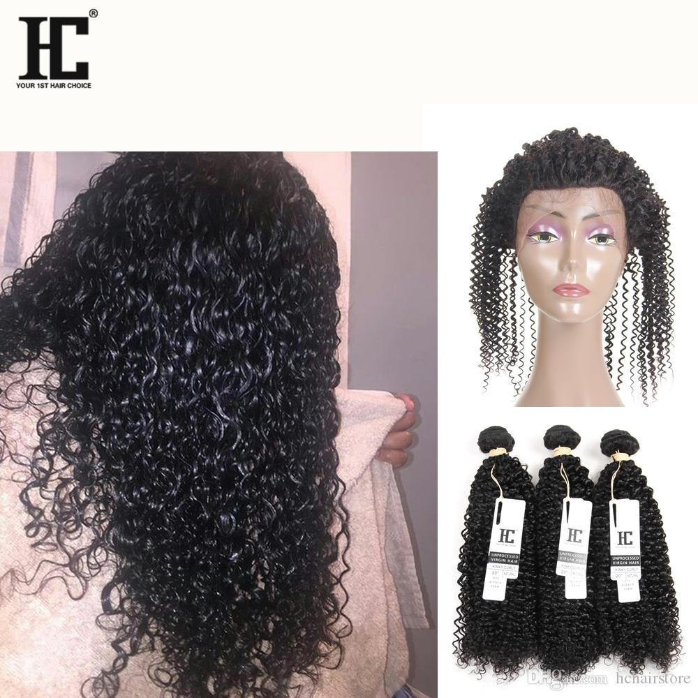 HC Malaysian Kinky Curly 360 Lace Frontal Closure with Bundles 3 Bundles Hair Extension Weave with 360 Lace Frontal Full Lace Frontal Human