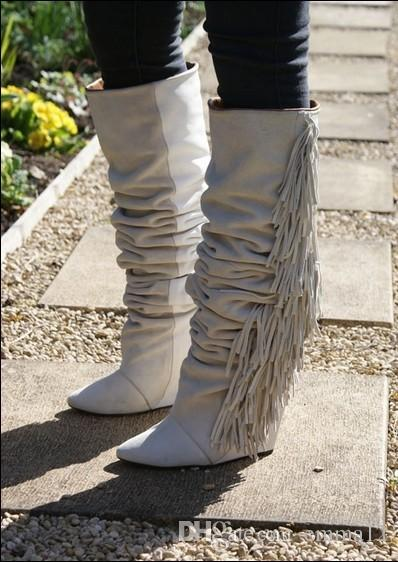 2017 أعلى qualiy النساء الركبة أحذية عالية الارتفاع زيادة هامش شرابة الأحذية أزياء المرأة إسفين الجوارب