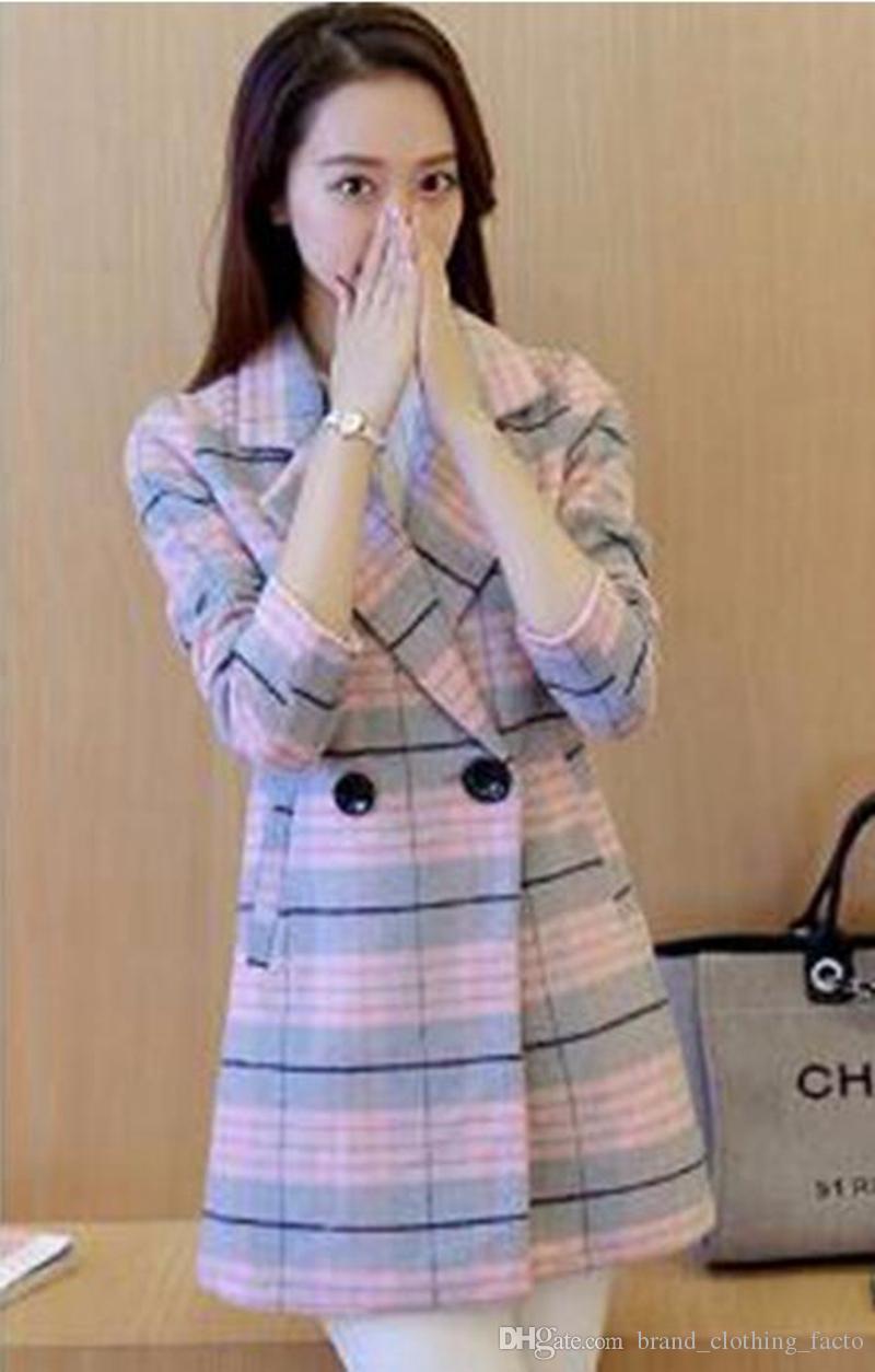 Qiu Dong Han Editionレジャーファッション高級気質ショー薄いロンググリッドクロスカシミアトレンチコート/ S-XL
