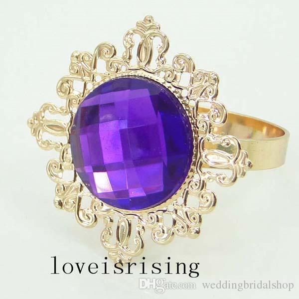 100pcs/lot Purple Acrylic Gem Napkin Holder Vintage Style Gold-tone Metal Rings Wedding Decor Napkin Cloth Rings