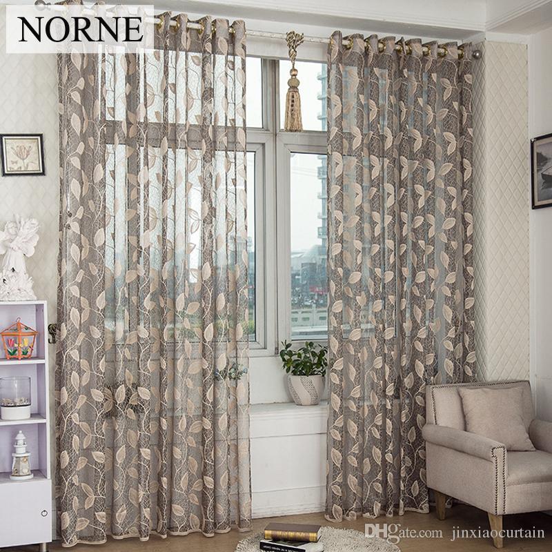 NORNE 거실 용 현대 얇은 창 커튼 침실 부엌 Cortina (rideaux) 잎 - 포도 나무 레이스 깎아 지른 커튼 블라인드 커튼