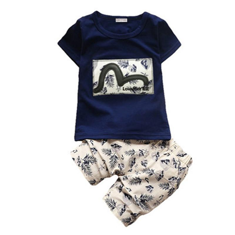 Çocuk Boys Giyim Setleri 2017 Yaz Çocuk Giyim Boys için Moda t-shirt + pantolon 2 adet Bebek Erkek Yürüyor Suit 1 2 3 4 yıl