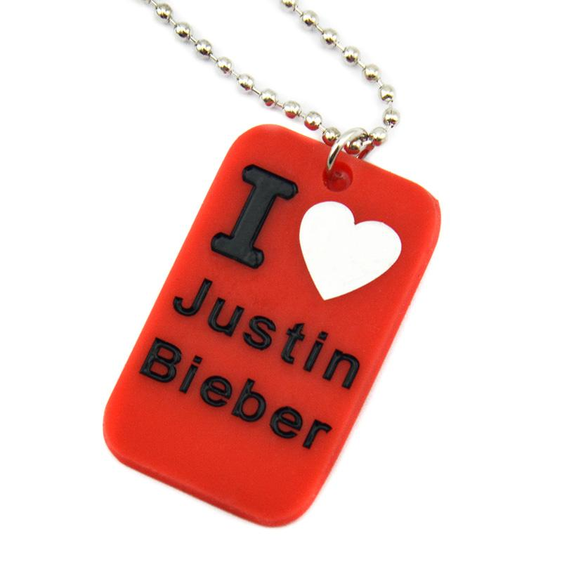 50PCS I Love Justin Bieber Silicone Dog Tag Necklace with 24 Inch Ball Chain Promotion Gift