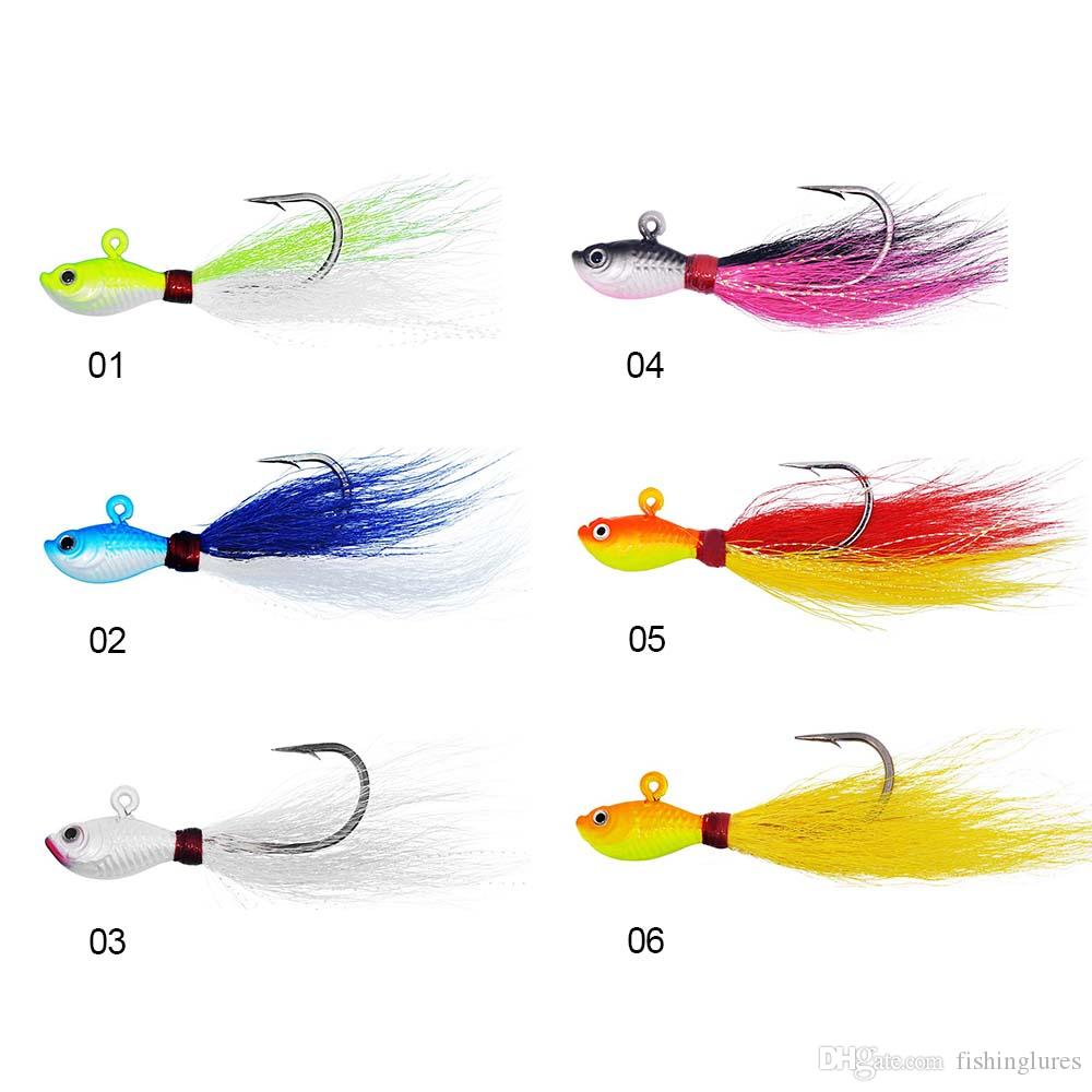 1oz Luminous Bucktail jig 6 colors Lead head Jigging Fishing Lures Deer hair bucktail big game fishing baits