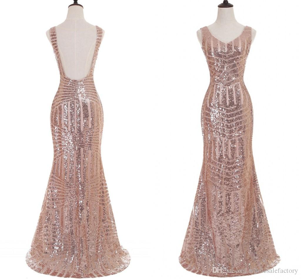 For Sale Rose Gold Mermaid Prom Dresses Stunning Sequin V Neck Backless Formal Evening Dresses Real Photo Prom Party Dresses 2017 Hot