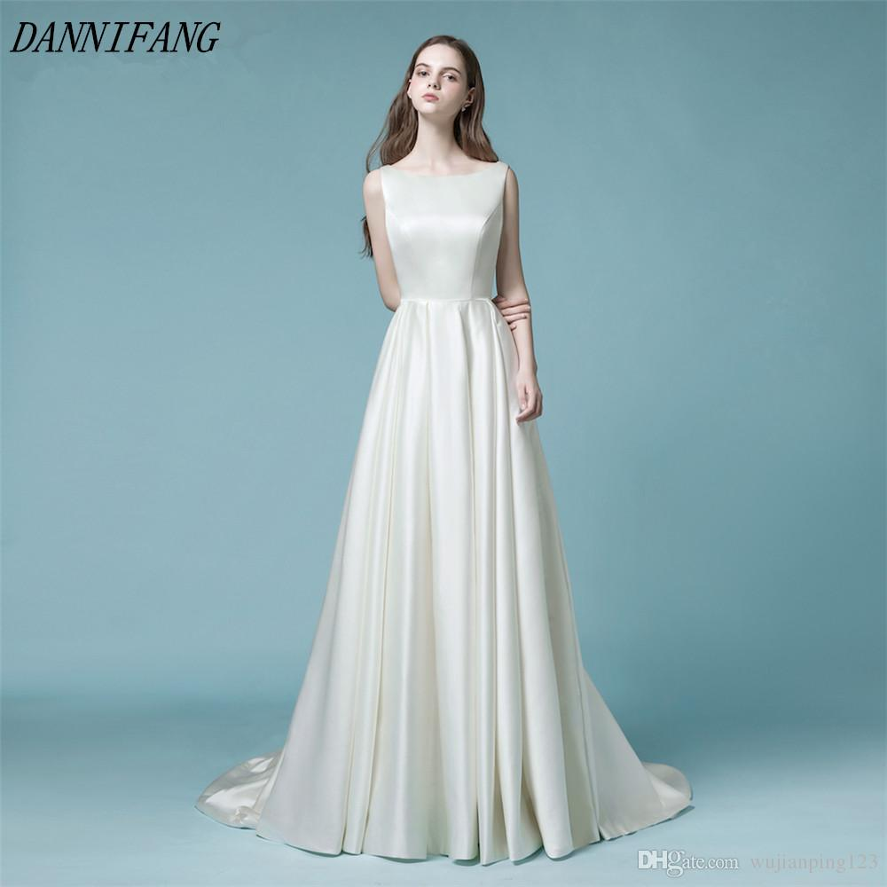 Discount Heap Simple Wedding Dresses 2018 Open Back Beaded Bridal ...