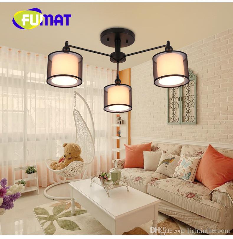 ... FUMAT Modernes Einfaches Tuch Schatten Kronleuchter LED Zylinder  American Decke Leuchten Für Wohnzimmer Studie Schlafzimmer Restaurant ...