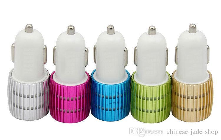 Real 1a Dual USB Billaddare Blå Ljus LED Aluminium Alloy Metal Adapter för Smart Phone 1000PCS / Lot