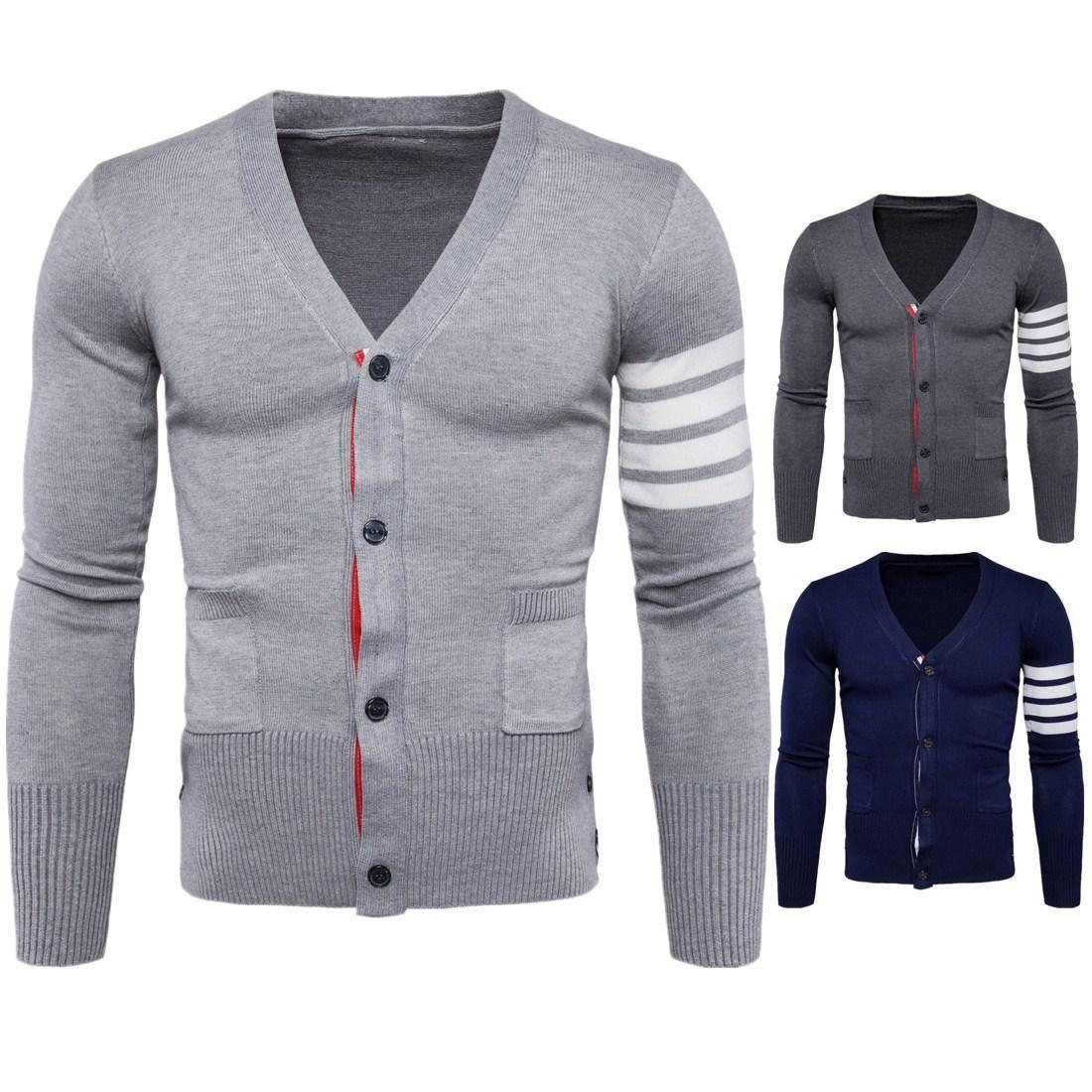 V Neck Men Knitwears Autumn Winter Warm Sweaters For Male Cardigan British Wild Men Knitwear With Pocket Coat M-2XL T170728