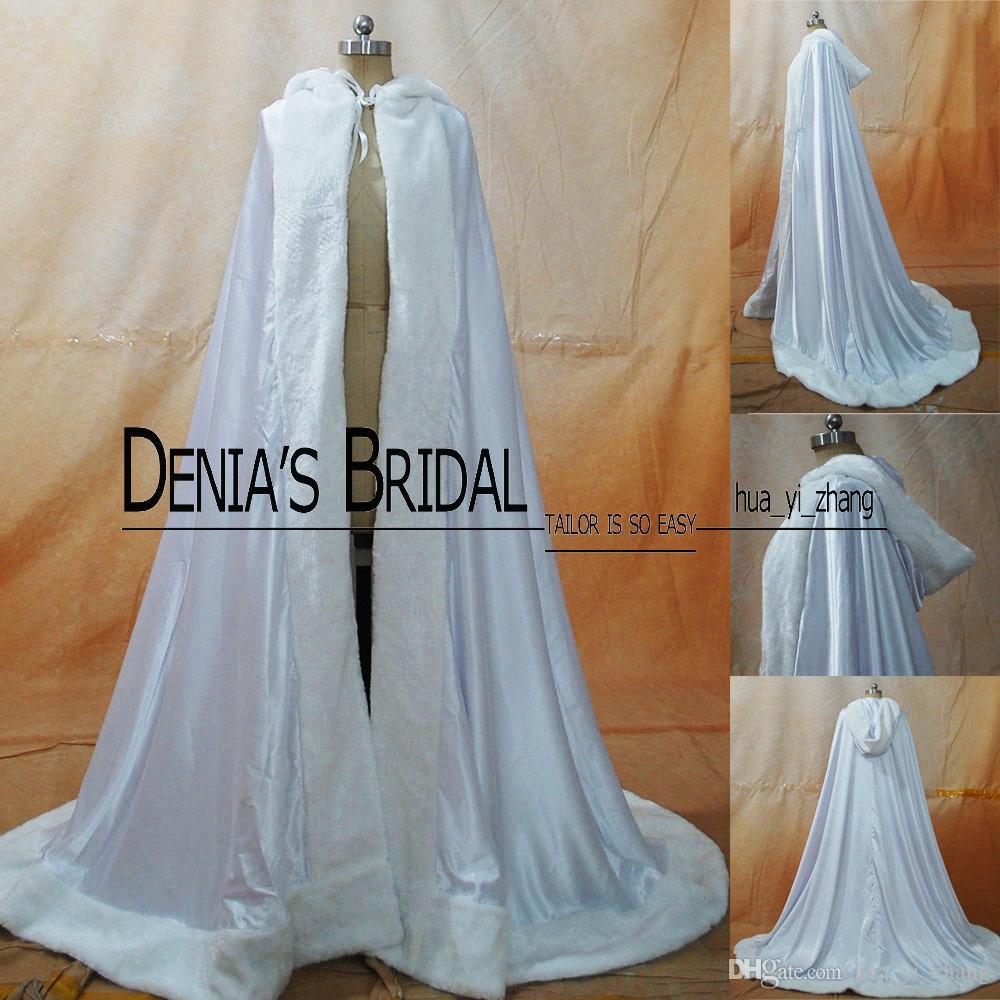 2016 Winter Bruiloft Cloak Cape Custom Made Hooded met Faux Bont Trim Long for Bride Satin Jacket 007