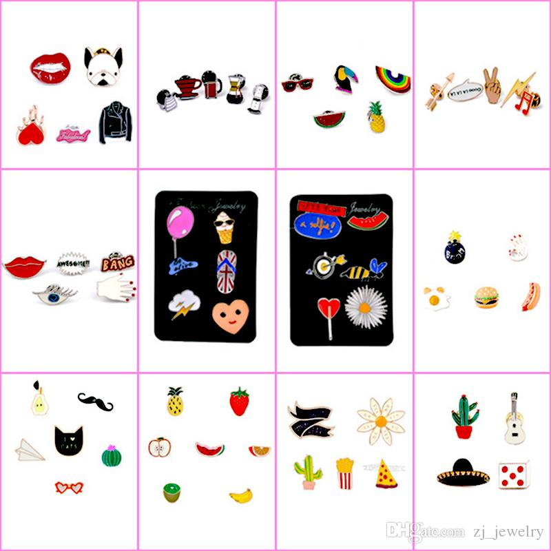 106 estilos de esmalte colorido Pins de solapa Insignia Mochila Camisa Collar Decoración Bird Bird Tree Fruit Fruit Bee Ice Cream Guitarra lápiz