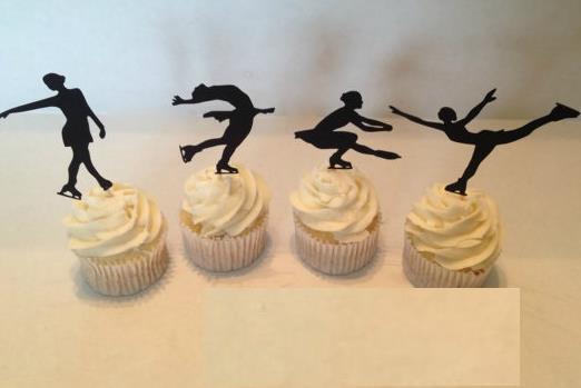 personalizzato Figura Pattinaggio Silhouette Cupcake Toppers cibo sportivo Prende addio al nubilato Addio al nubilato matrimonio compleanno stuzzicadenti decorazioni