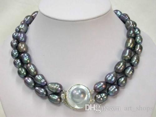 """FFREE VERSAND ** Details über 2 Reihen natürliche 9-10mm Tahitian schwarze Perlenkette 17 """"-18"""" LL002"""