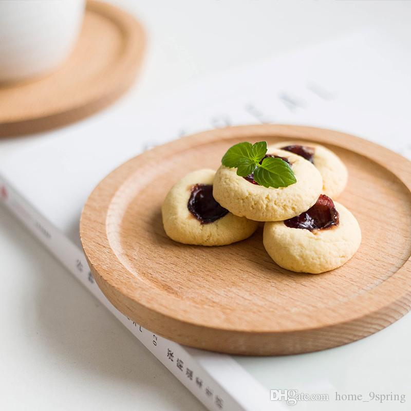 Dia 14cm Mini Cake Snack Vassoio di frutta Piatto rotondo in legno Vassoi per posate Sottobicchiere mug Articoli per la tavola in legno