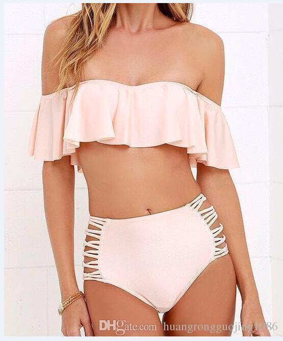 2017 Falbala Sexy Swimsuit Bandeau Soild Suits Купальники Купальники Высокая талия Женщины Установите бикини бикини LDOFH