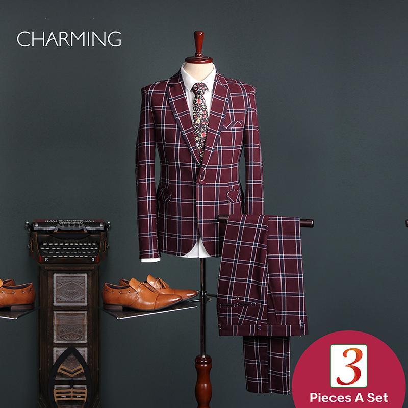 Homens terno Vermelho Malha 3 peça terno Tecido de alta qualidade do homem terno design Mens ternos de negócio da moda