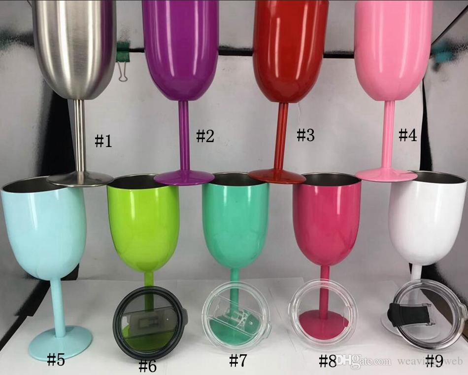 PIÙ ECONOMICO !! 10 once di vino Vetri stianless vino bicchiere acciaio calice Double Wall calice con coperchio 9 colori in azione