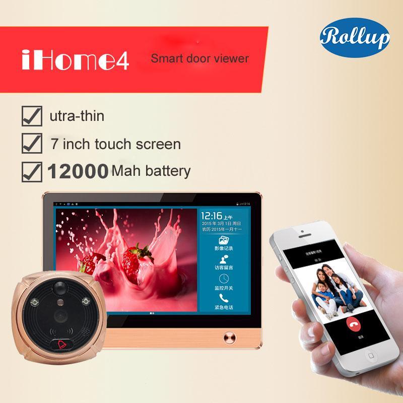 2017 Yeni Varış ROLLUP iHome4 WiFi Peephole Kapı Görüntüleyici Video IP Kapı Zili 7 Inç Ekran IR PIR Kapı HD Kamera Hareket Uzaktan Contr Tespit