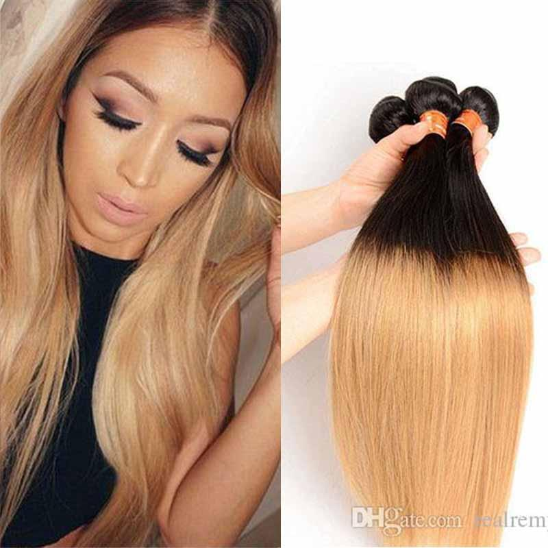 PASSION Ombre Hair Extensions Brazilian Malaysian Peruvian Straight Virgin Hair 3 Bundles Two Tone #1B/27 Ombre Blonde Human Hair Weaves
