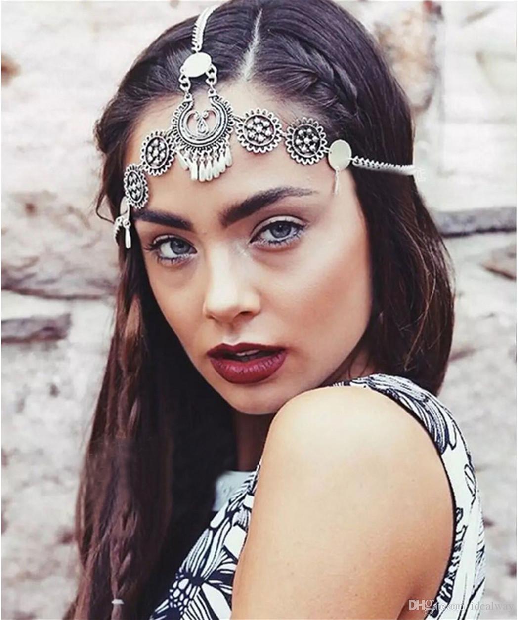 Bohemian vintage style silver metal hollow out flower headpiece headband ethnic head chain headwear hair jewelry