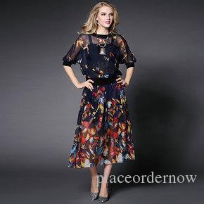 Imprimer floral robes vintage Audrey Hepburn manches longues nouveau style printemps été rétro robe papillon robe de femmes vêtements de mode