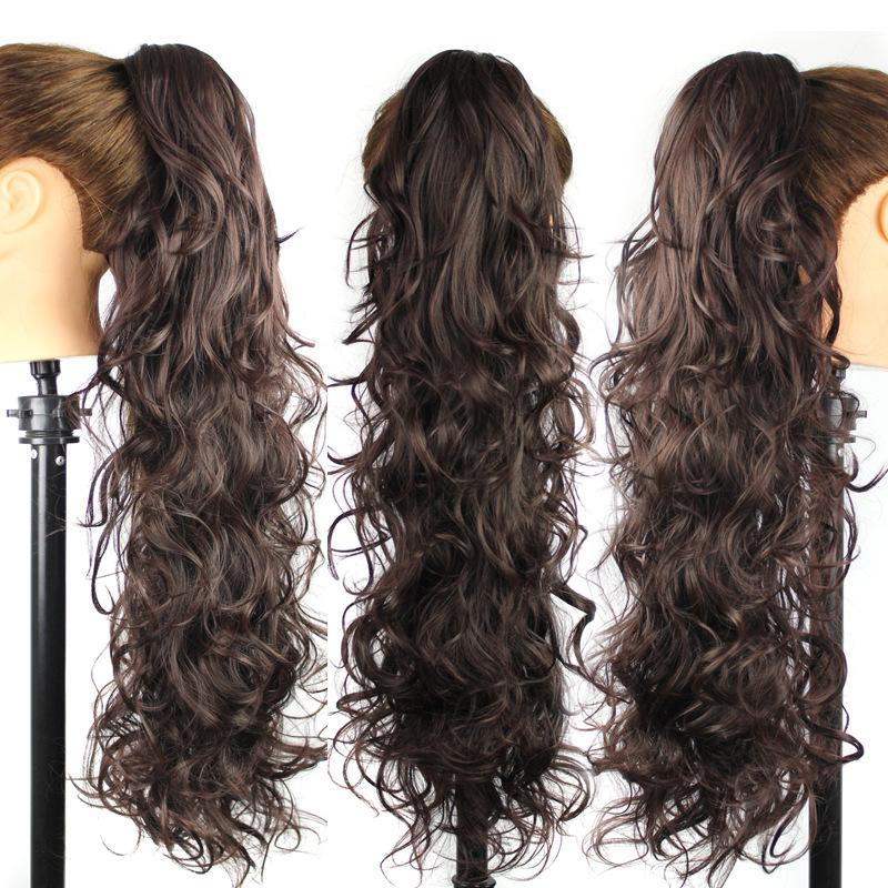 Gros-25 pouces / 65CM 220g Femmes Longue Vague Bouclée Style Cheveux Queue De Cheval Pince queue queue de poney Clip Sur Extensions de cheveux synthétiques Postiches