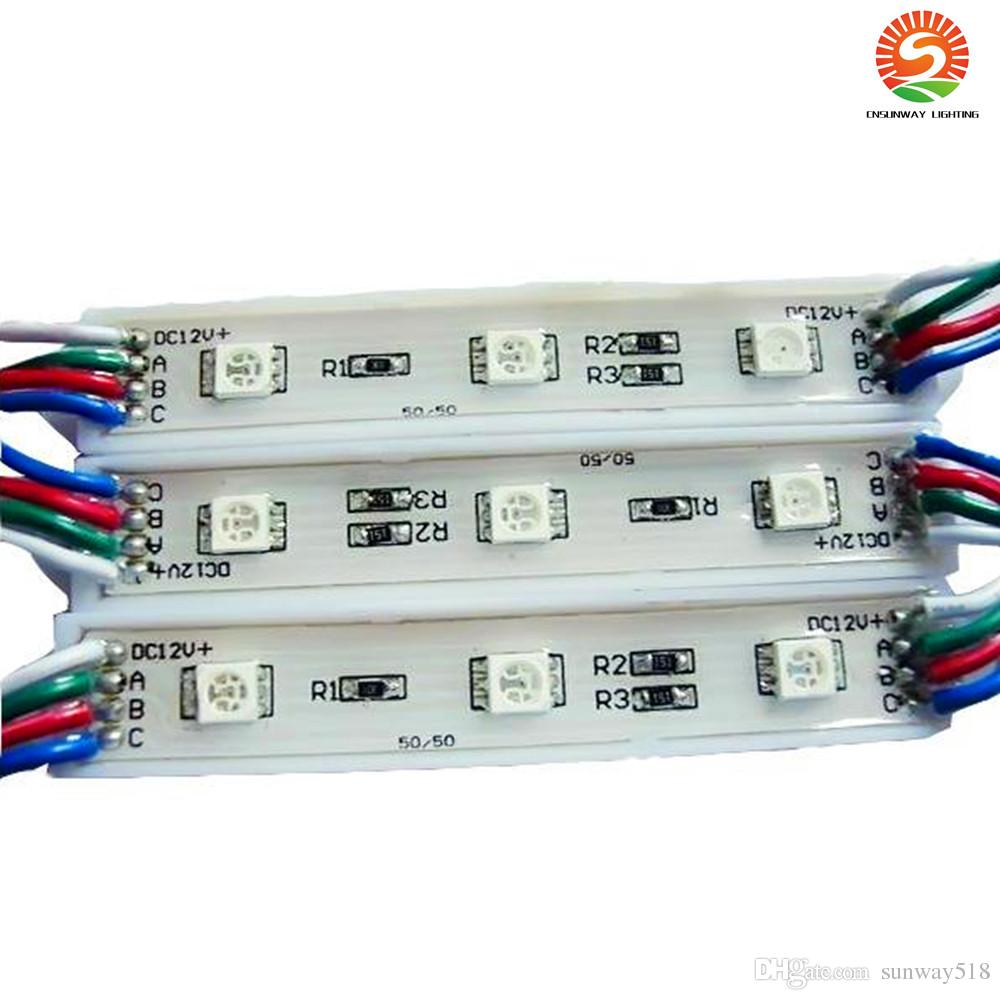 DIY 3 Leds SMD 5050 Led Modules Waterproof 12V RGB Led Pixel Modules Light WW PW CW R G B For Channel Letters