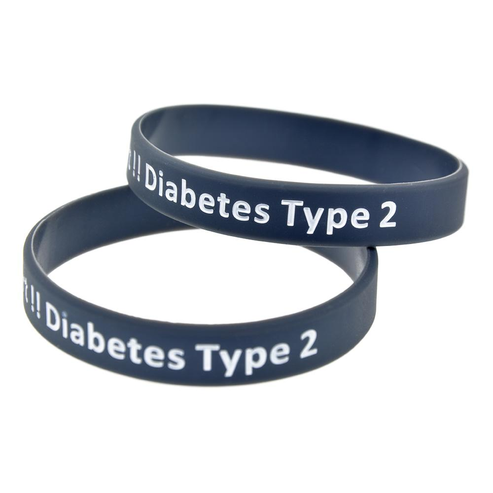 100pcs 경고 유형 2 당뇨병 실리콘 고무 팔찌 성인 크기 4 색상 일일 알림에 적합