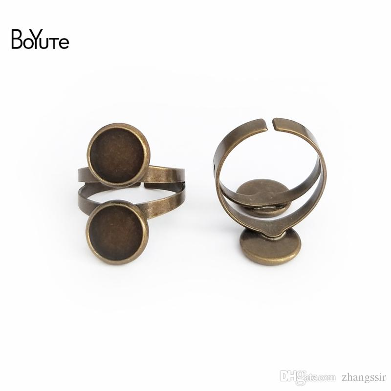 BoYuTe 20Pcs 6 Colors 10MM 12MM Cabochon Base Ring Settings Vintage Jewelry Findings & Components Adjustable Open Ring Base