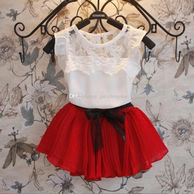 boutique girls clothing Baby Girls Clothes Sets Children lace tulle bow dress Kids clothes children tees skirts chiffon Outfits 2pcs XZT007
