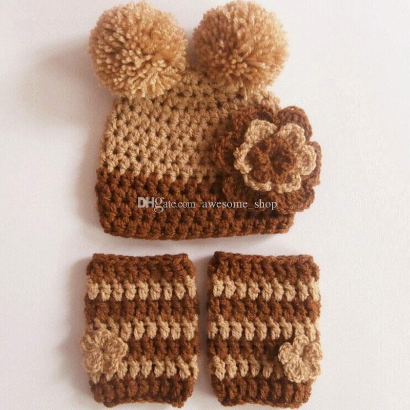 nouveau Tricot bébé chapeau à pompon 0-3 mois