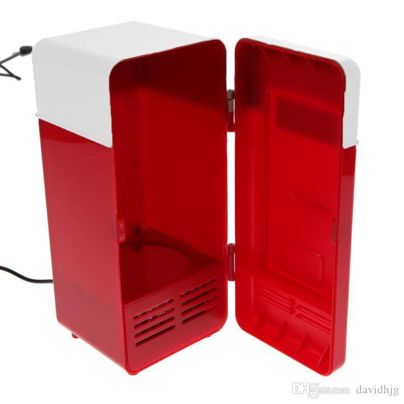 Venta al por mayor - Escritorio Mini USB Gadget Latas de bebidas Refrigerador Calentador Refrigerador Mini refrigerador con luz LED interna Refrigerador USB