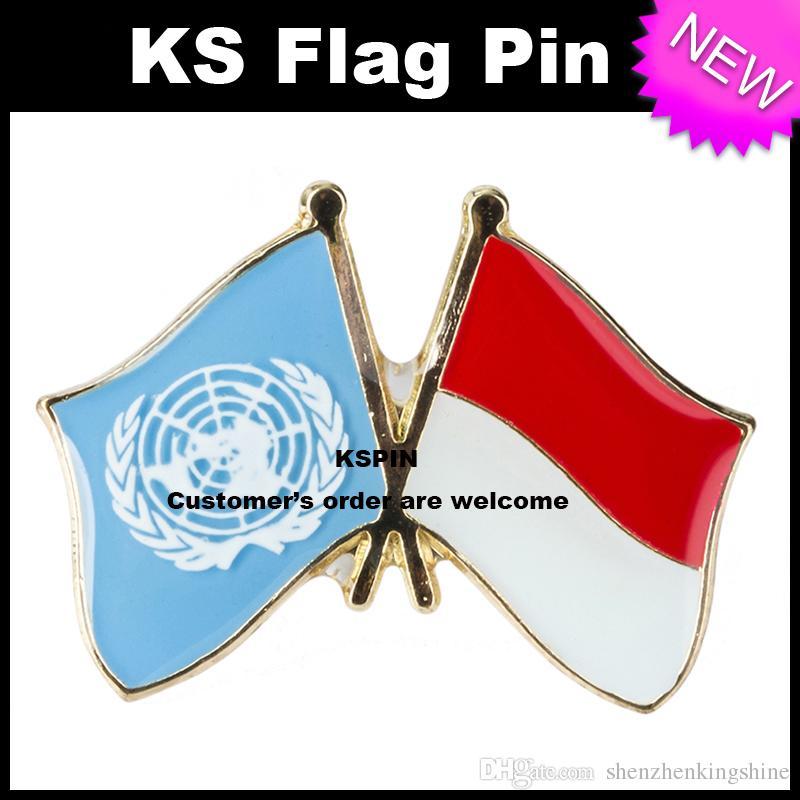 Pin de la bandera de la insignia de la bandera de Indonesia de las naciones unidas 10pcs mucho Envío libre 0010