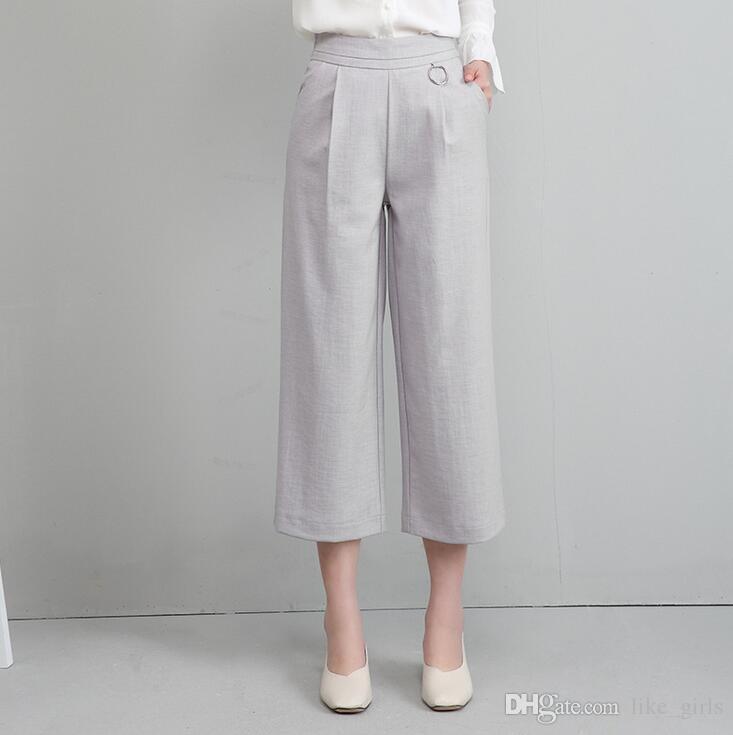 Bonne A ++ Femme large jambe neuf minutes été taille haute lâche grands pantalons décontractés pantalons PW021 femmes Capris
