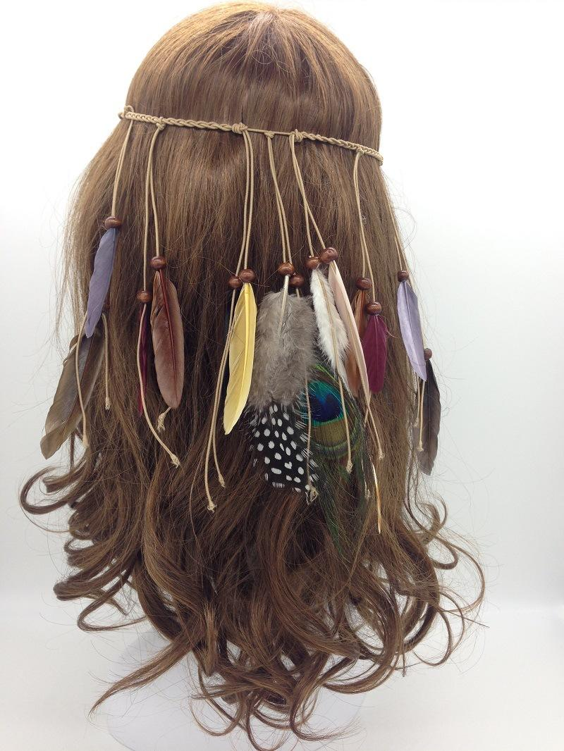 Indian Headband With Braids and Feather