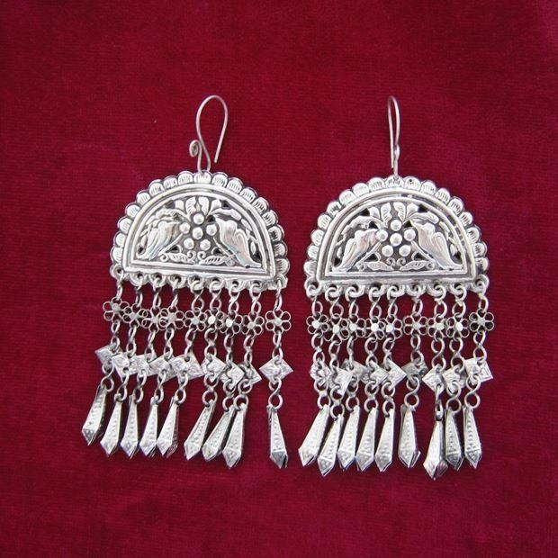 Miao e Dong villaggi costume retrò Miao Orecchini in argento fatti a mano Yang Liping con due uccelli con orecchini Tassel esagerati