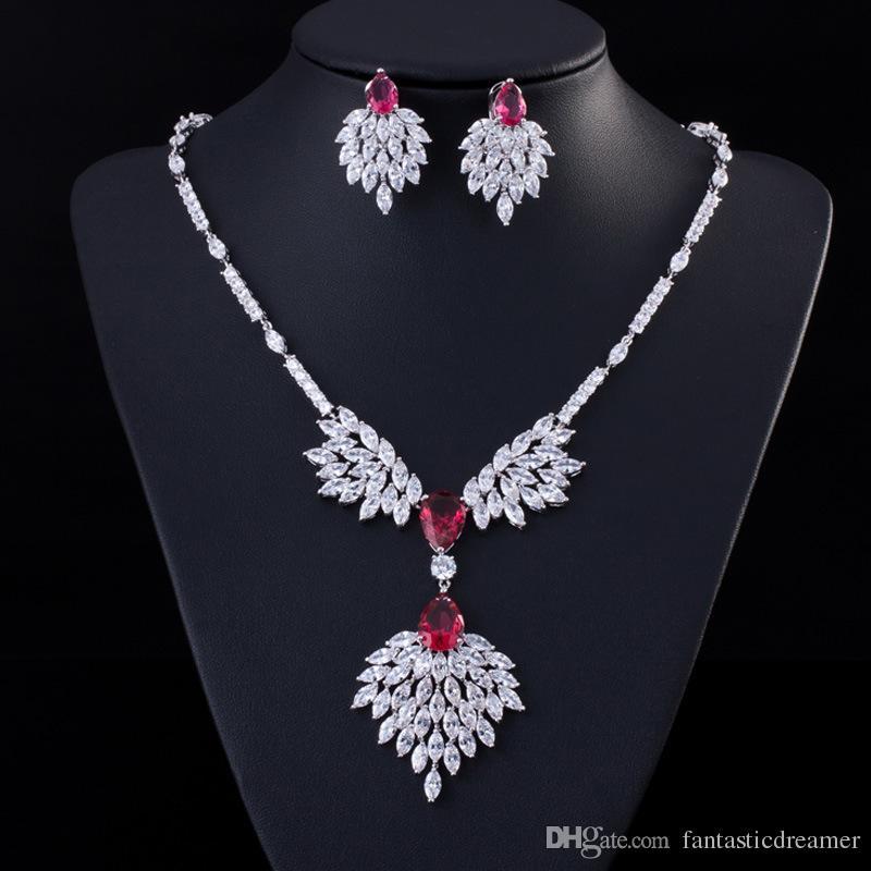 Vendita calda nuziale classica gioielli di cristallo di lusso collana lunga orecchini set di gioielli da sposa accessori di fidanzamento per le donne bijoux T091