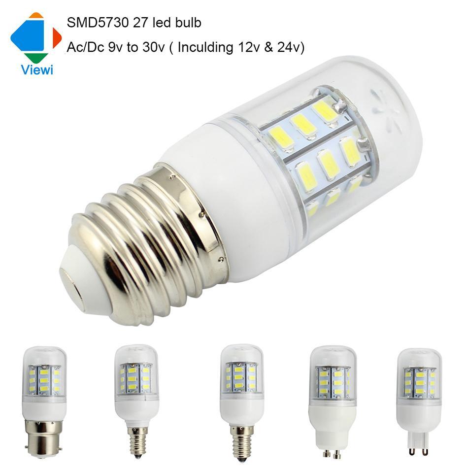 5x Ampoule Led Lamp Ac Dc 12 Volt E27 E12 E14 G9 GU10 Light Bulb 12v 24v  Solar Lamps Lighting Smd5730 Epistar 27leds Led Mr16 Bulbs 1141 Led Bulb  From