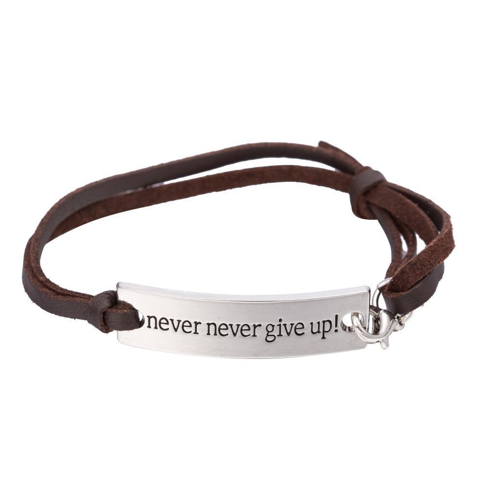 All'ingrosso- la mia forma Inspirational Quote Never Give Up Rectangle Inciso Charm Bracciale in pelle Laurea gioielli regalo per le donne