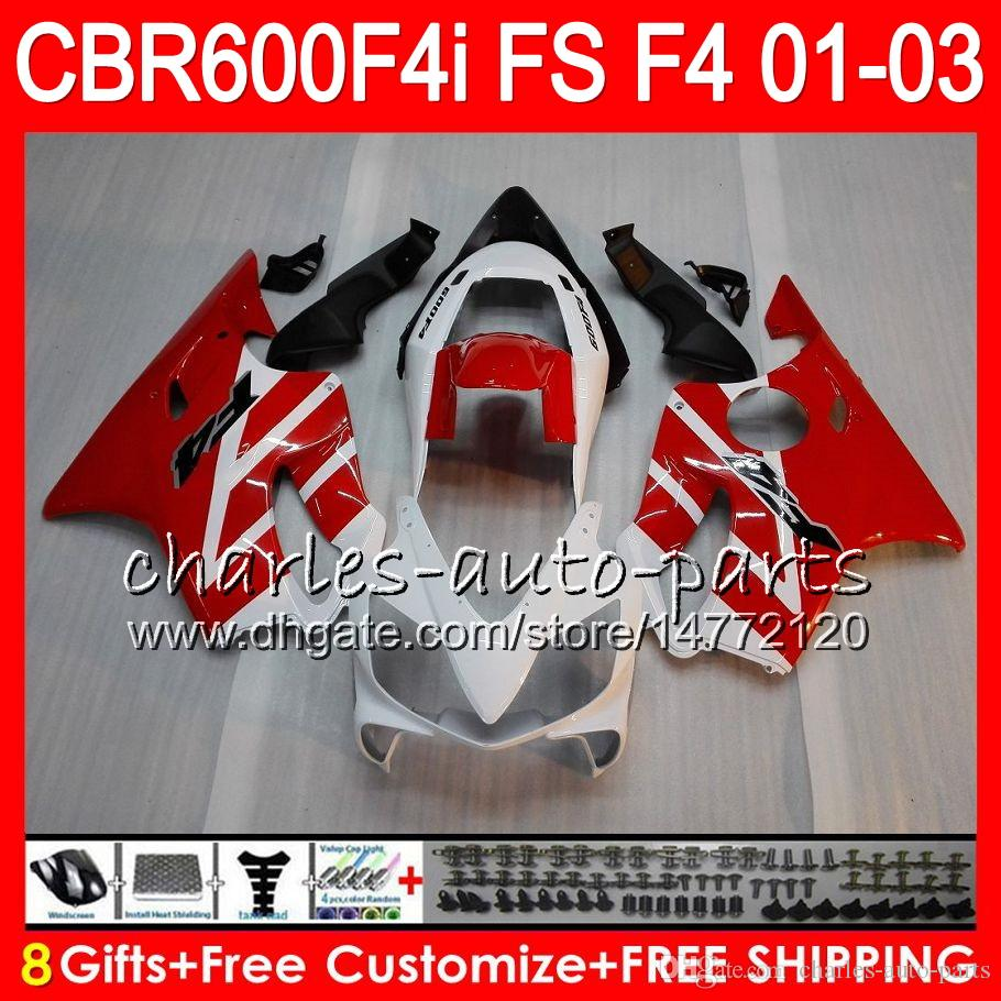 8Gifts 23 Kolory dla Honda CBR 600 F4I 01-03 CBR600FS FS 28HM11 Top White Red Cbr600 F4I 2001 2002 2003 CBR 600F4I CBR600F4I 01 02 03 Owalnia