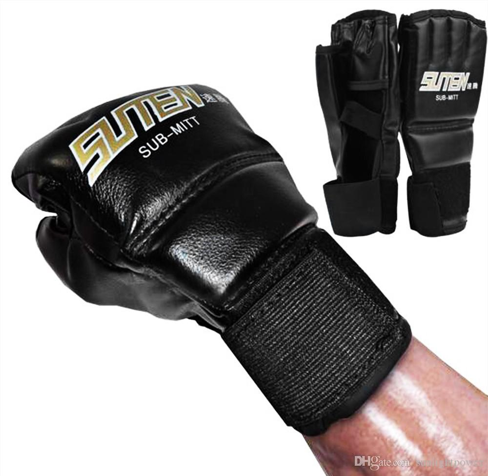 PU LEATHER BOXING MMA MUAY THAI KICK BOXING HALF FINGER GLOVES TRAINING 1 PAIR